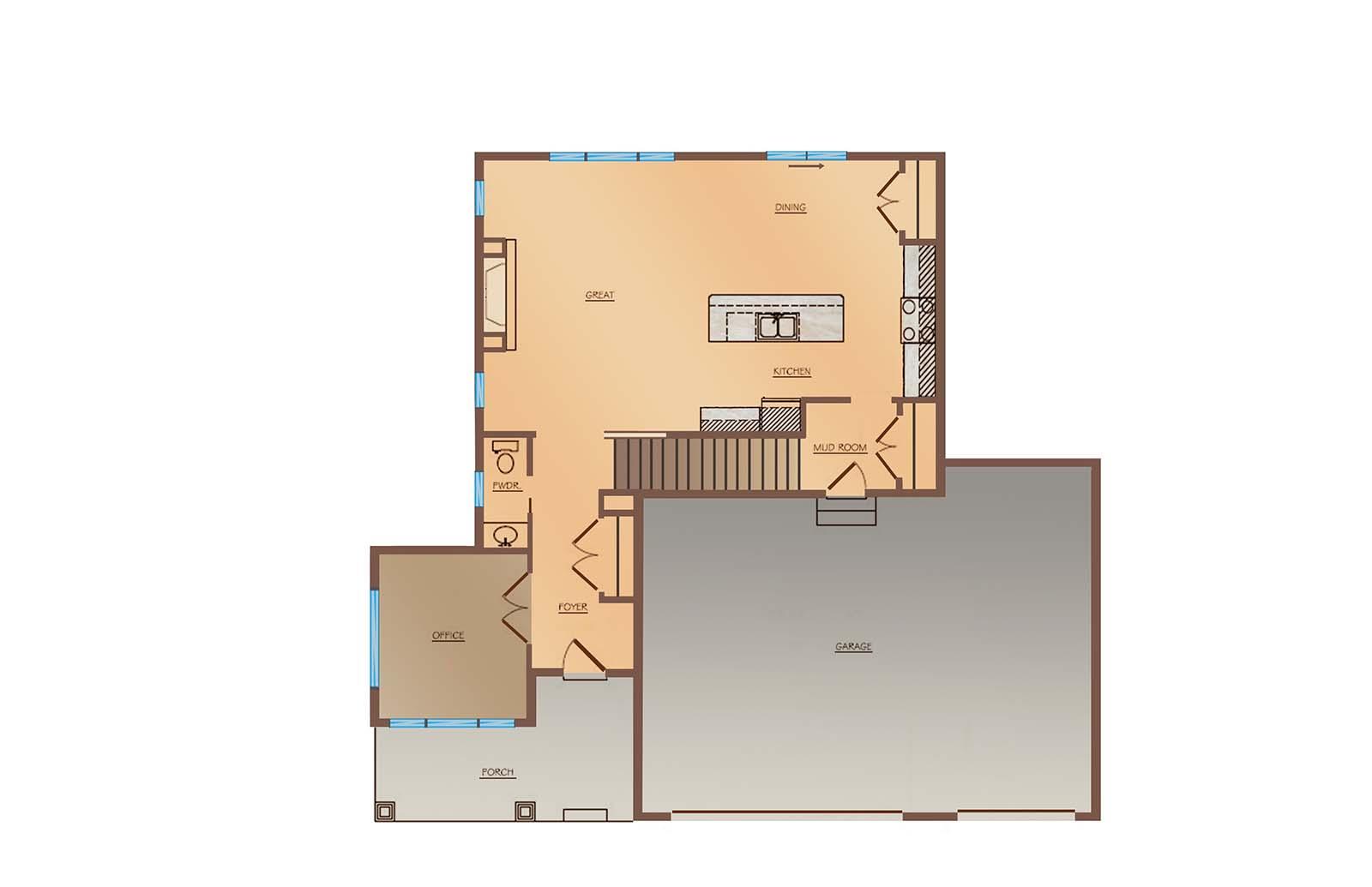 OneTenTen Homes Kennedy Loft Main Level Rendering