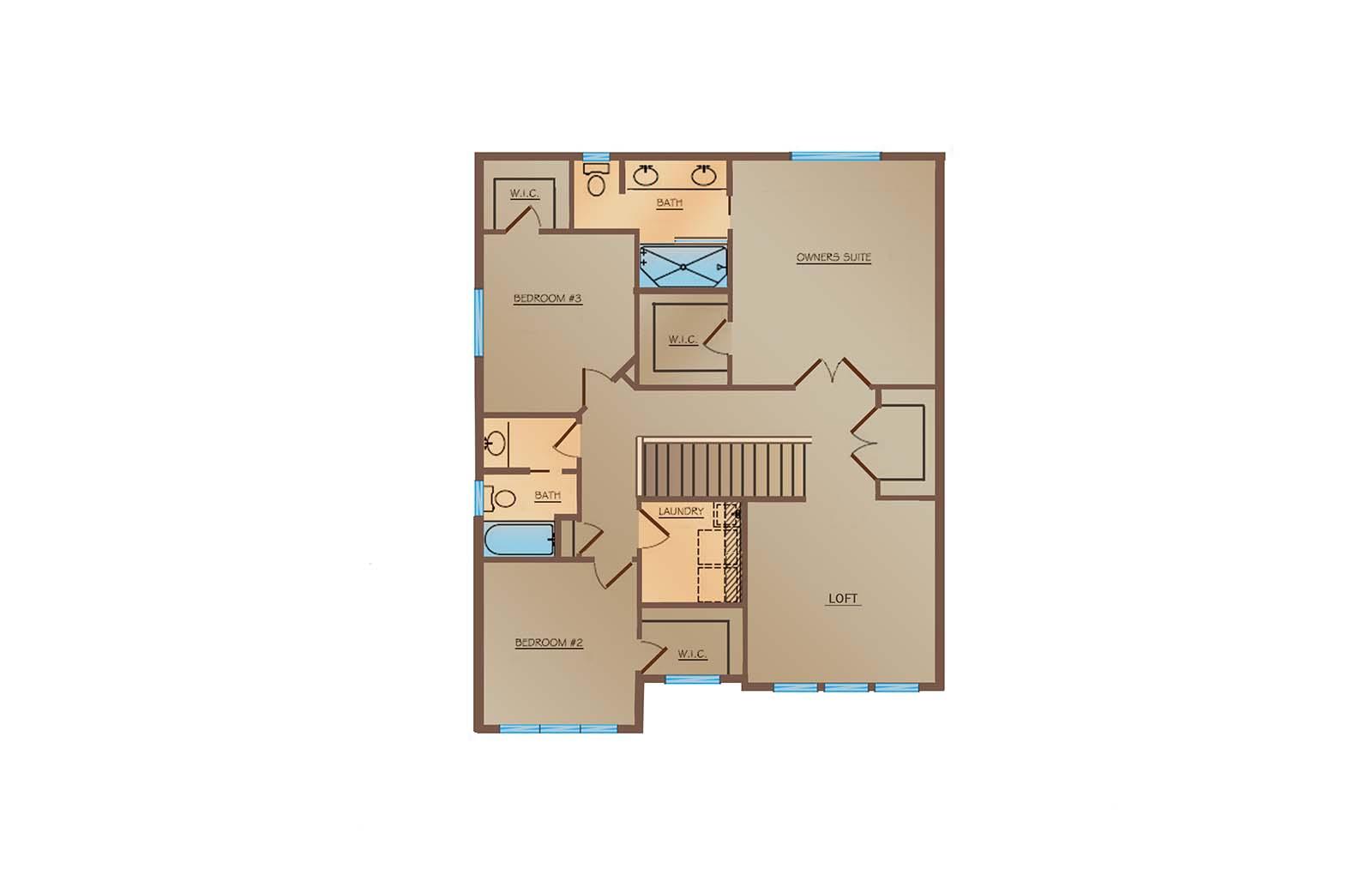 OneTenTen Homes Kennedy Loft Upper Level Rendering